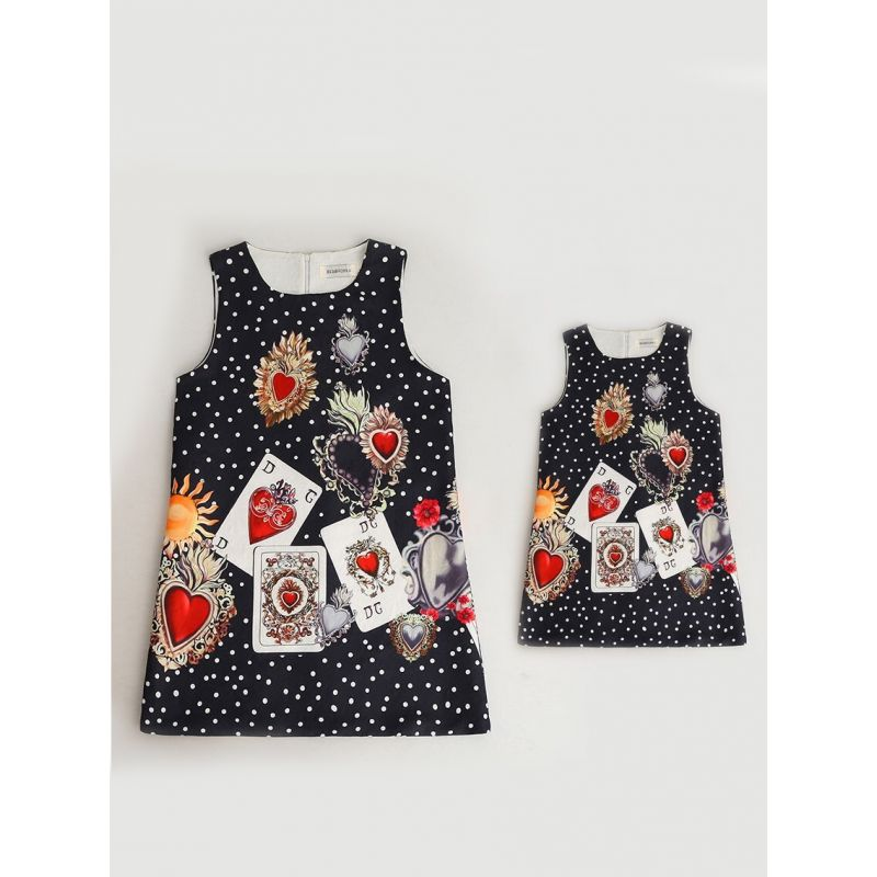 Mommy and Me Playing Card Polka Dots Print Sleeveless One Piece Summer Dress with Back Zipper