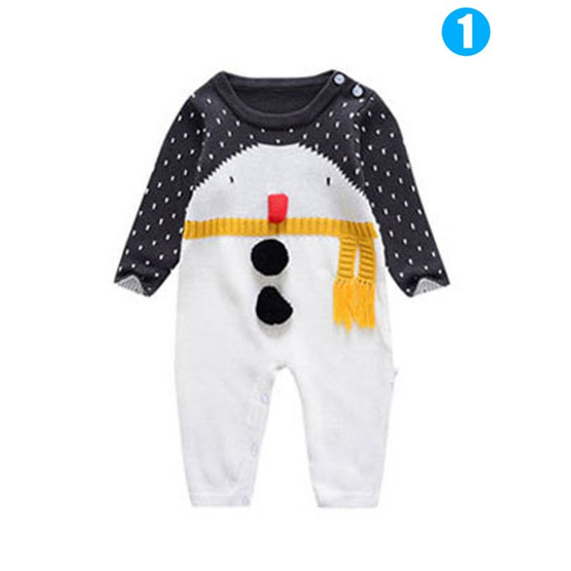 Cute Cartoon Super Star Snowman Pattern Knitted Cotton Baby Bodysuit Christmas Unisex Infant Pajama