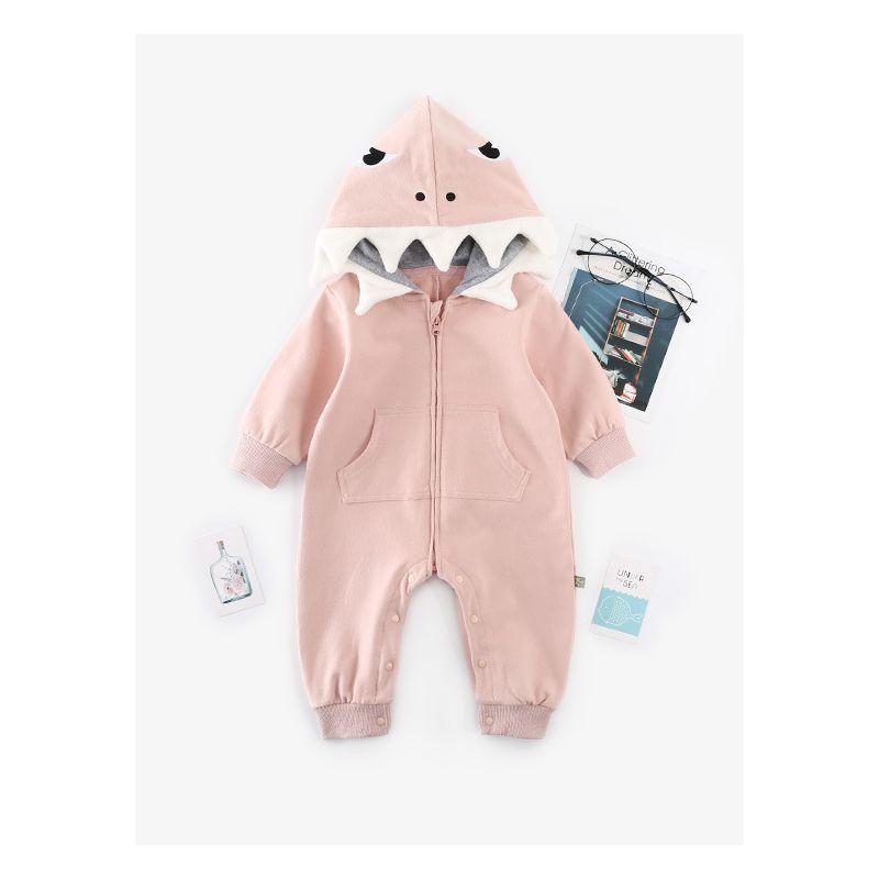 Adorable Dinosaur Pattern Hooded Romper Unisex Baby Girl Boy Zipper Bodysuit with Pocket for Autumn