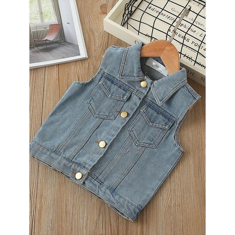 Fashion YJJY Renarda Letters Print Boys Girls Denim Vest Kids Sleeveless Denim Jacket