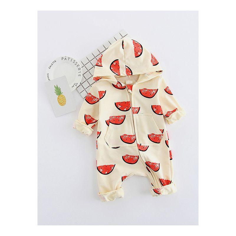 Cute Watermelon Print Baby Girl Boy Warm Zipper Hooded Romper Jumpsuit Bodysuit W Pockets