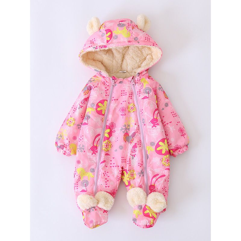 Winter Animal Ear Pattern Cartoon Print Fleece-Lined Baby Romper Bodysuit Warm Thick Footed Jumpsuit W Zipper