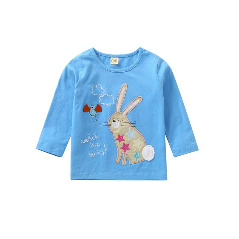 Simple Embroidered Rabbit Bird T-shirt Top Long Sleeve for Baby Toddler Big Girls Boys