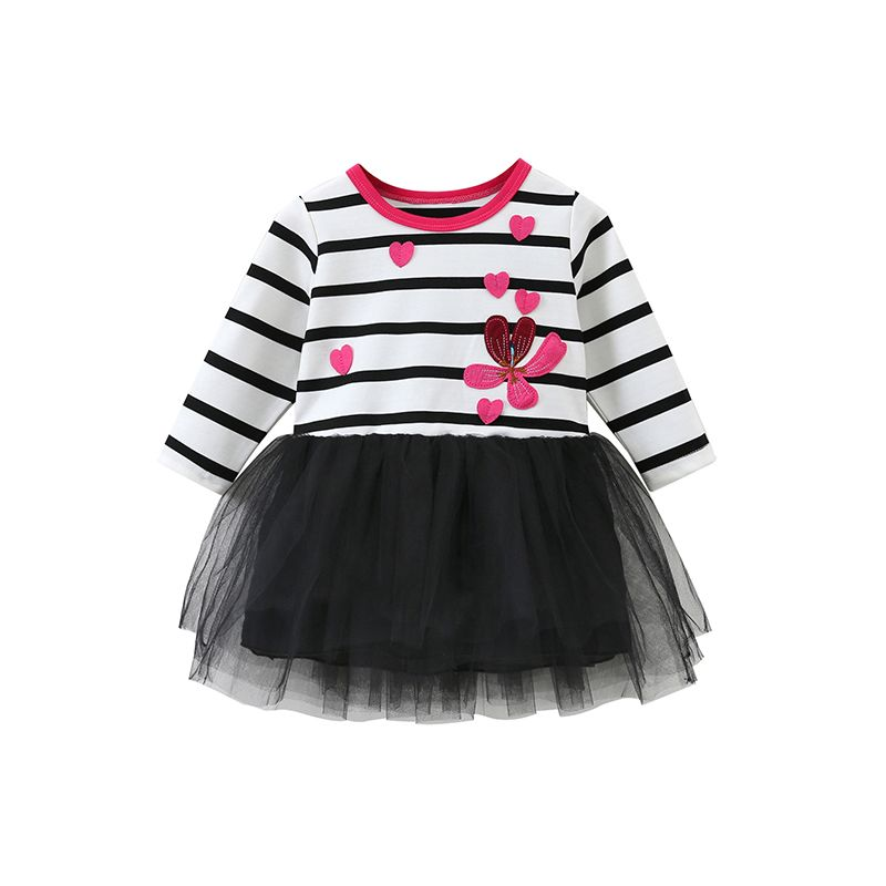 Fashion Love Heart Embroidery Flower Tulle Dress Striped Layered Kids Frock Long Sleeve