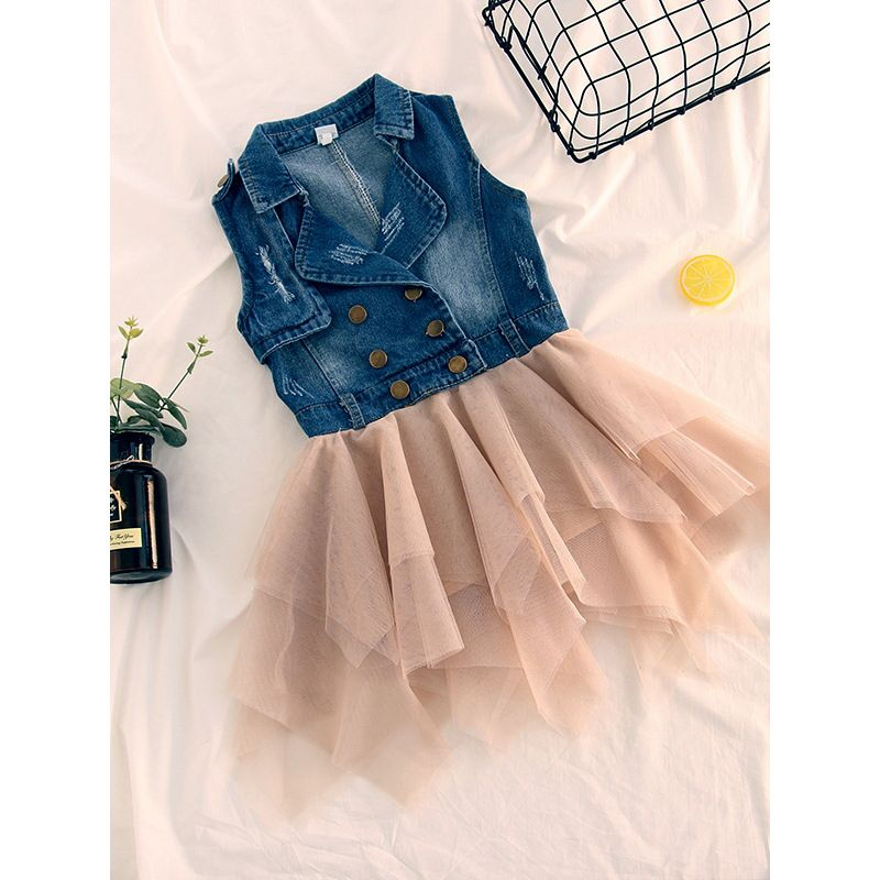 Fashion Sleeveless Toddler Kids Girl Denim Patchwork Tulle Dress Cute Girl Casual Dress