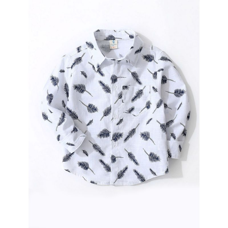 Autumn Feather Print Boys Cotton Shirt Tops Tee  Long Sleeve Chest Pocket Children Casual Clothes