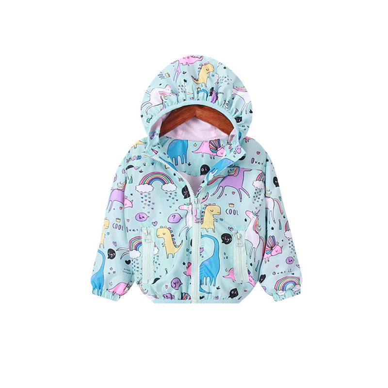 05cfde7c3 Trendy Toddler Big Girl Kids Unicorn Rainbow Dinosaur Print Cartoon Jacket  Mountain Windproof Hooded Coat with