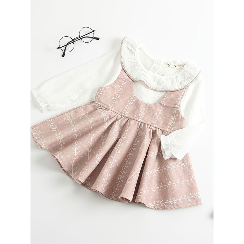0b22ec5588f7 Kiskissing Baby Toddler Girl Patchwork Cotton Princess Dress Spanish Baby  Clothes Dress Ruffled Collar Long Sleeve