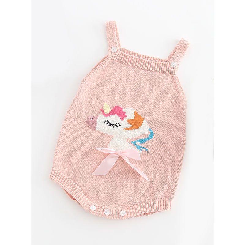 c26579888de Autumn Unicorn Pink Bow Cotton Suspender Knitted Onesie Baby Boy Girl  Crochet Romper