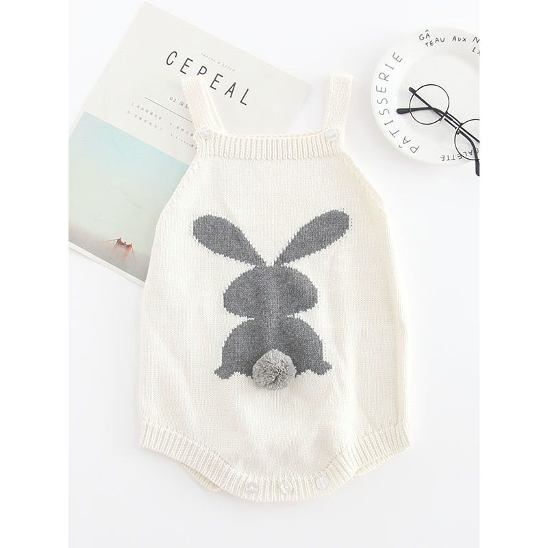 415a1241e623 Kiskissing white Bunny Knitted Onesie Cotton Baby Romper Rabbit With 3D  Tail Bodysuit for Autumn the