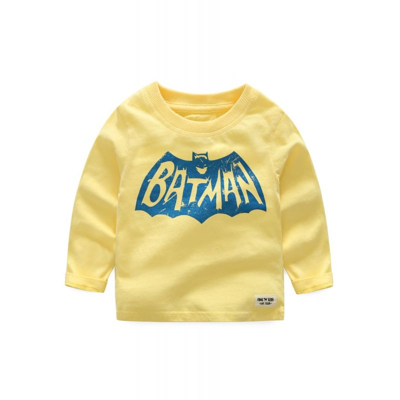 Cool Printed Cotton T-shirt Top Solid Color Boys Pullover Top Long Sleeve Kids Clothes