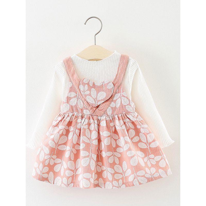2 PCS Leaf Print Suspender Princess Dress Set White Striped Long Sleeve Shirt Pullover Top +Love Heart Ruffled Princess Dress