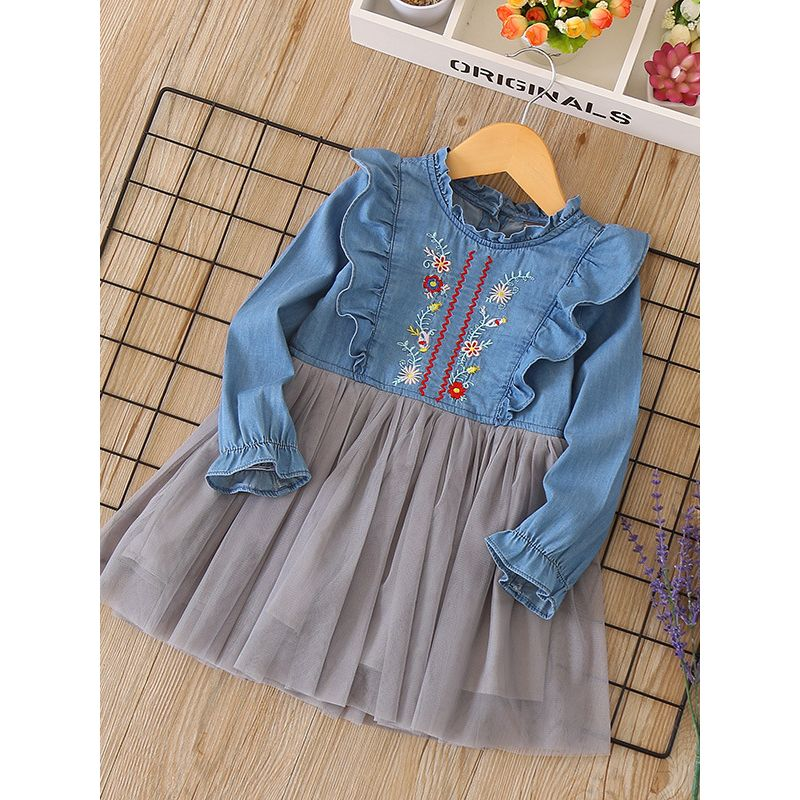 Spring Ruffled Collar Flower Embroidery Tulle Denim Patchwork Casual Dress