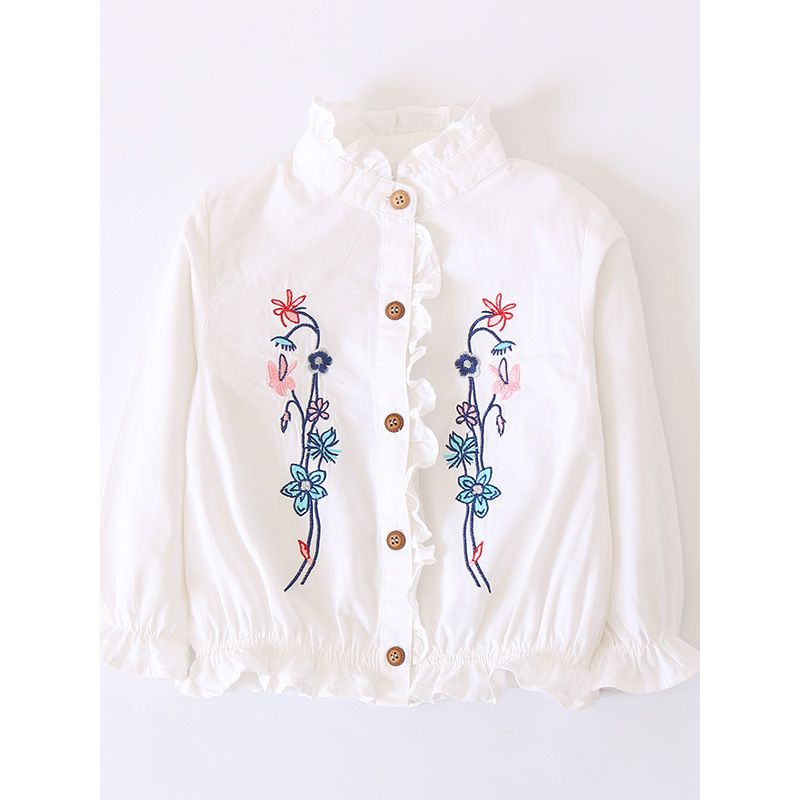 6PCS/PACK Stylish Ruffled Collar Flower Embroidery Cotton Blouse Shirt Long Sleeve White/Striped Pattern for Little Big Girls