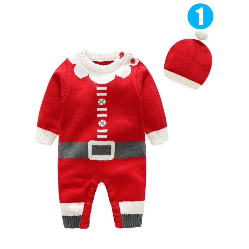 2PCS Xmas Baby Boys Girls Knit Romper Hat Set Outfit  Baby Clothes  Jumpsuit Christmas Costumes Santa Clause/Christmas Tree/Christmas Bear Pattern