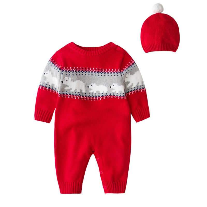 c0bcf09fa21 2PCS Baby Boys Girls Christmas Costumes Outfit Set Knitted Bear Infant  Romper and Red Hat