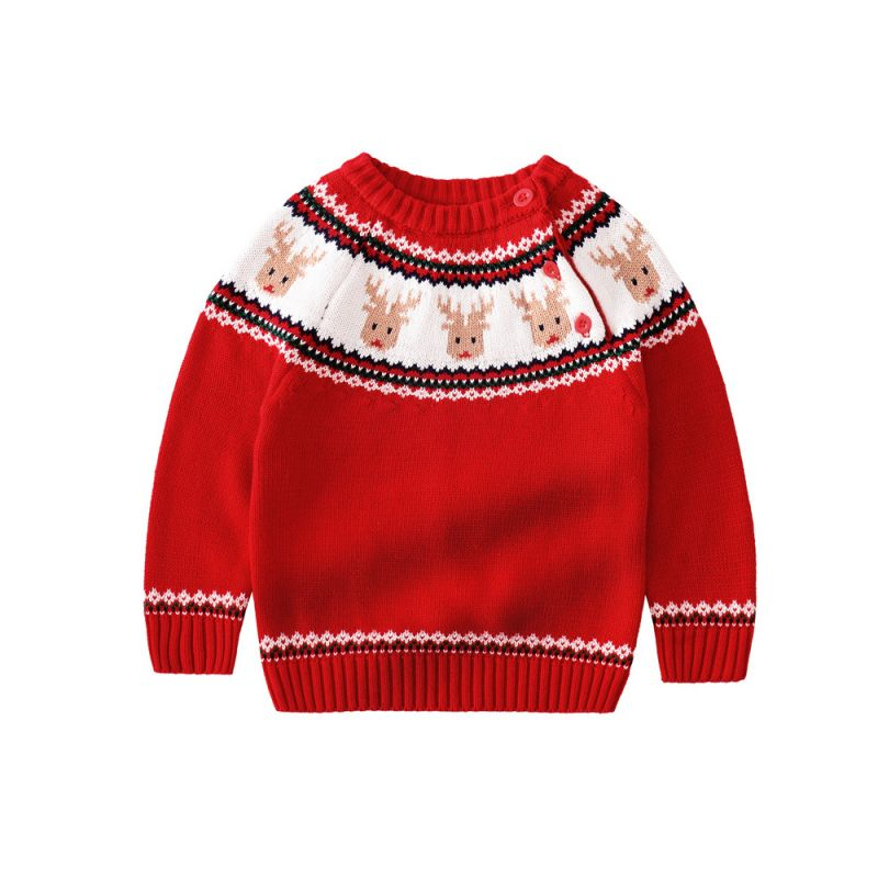 Christmas Reindeer Crochet Sweater Baby Boy Girl Cotton Knitted Jumper Long Sleeve Kids Xmas Costumes for