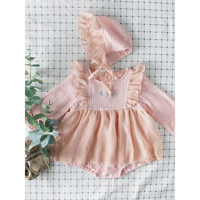 a8964623976 Kiskissing 2PCS pink Baby Girl Romper Hat Set Flower Embroidery Party Romper  Skirt +Ruffled Detachable