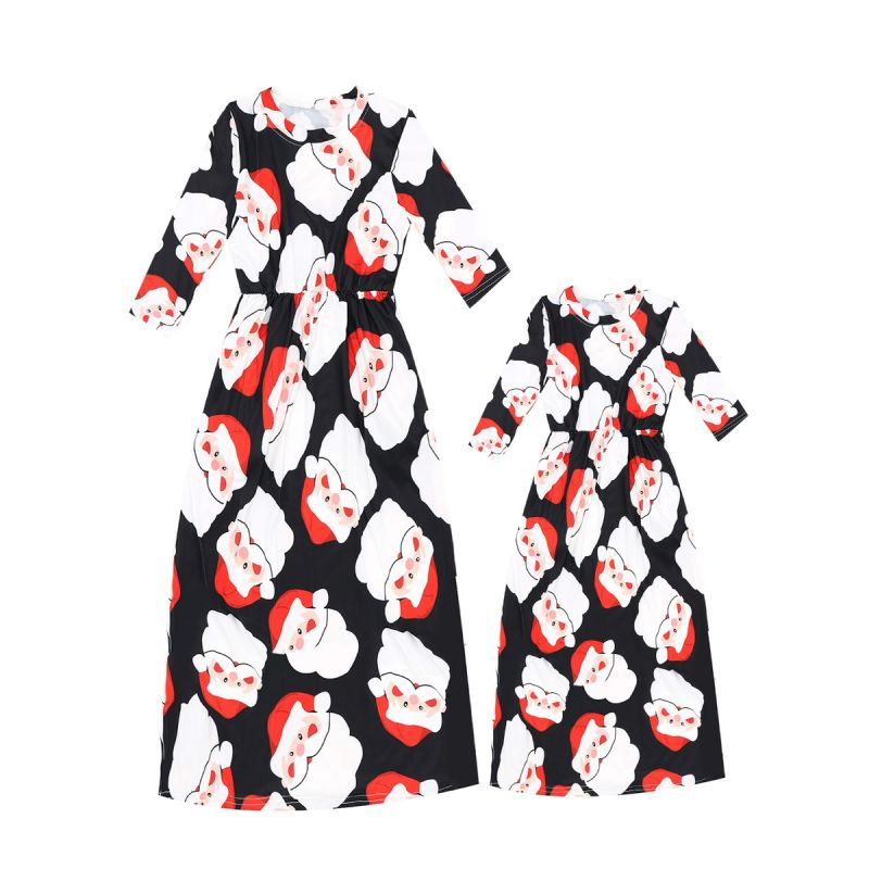 Mommy and Me Santa Clause Print Fit and Flare Dress Mum and Daughter Christmas Party Dress Long Sleeve