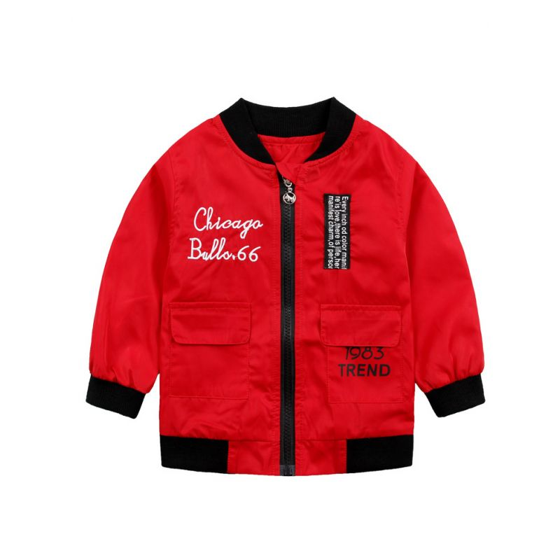 Fashion Chicago Bulls.66 183 Trend Letters Embroidery Windproof Jacket Little Big Boys Coat with Flap Hand Pockets Blue/Red
