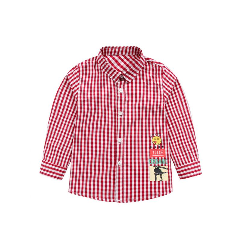 Fashion Autumn Kids Checked Shirt Long Sleeve Chest Pocket Boys Casual Button Down Tee Tops