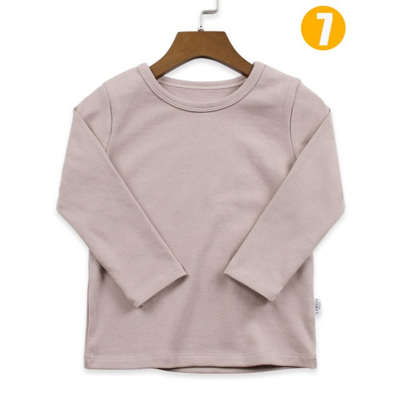 Boys Girls Kids T-shirt Solid Color Base Shirt Long Sleeve for Autumn Winter