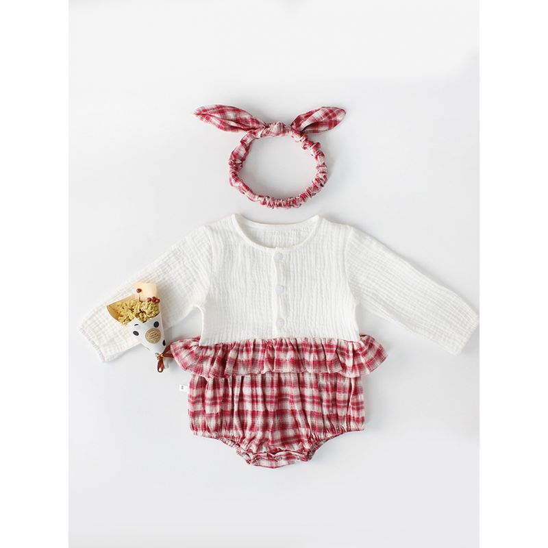 cf55b7778 Cute Baby Girl Checked Cotton Romper Long Sleeve with Headband Spanish  Style Baby Clothes