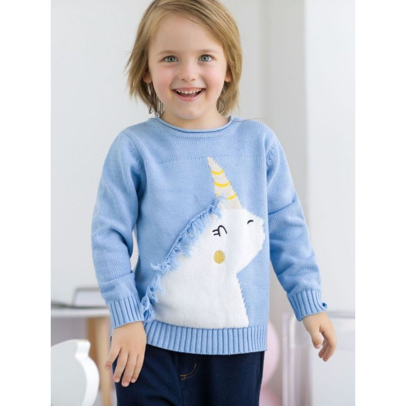 Kiskissing Cute blue Unicorn Pattern with Tassel Cotton Sweater Baby Toddler Boys Girls Knitted Jumper Long Sleeve the model show wholesale kids clothing