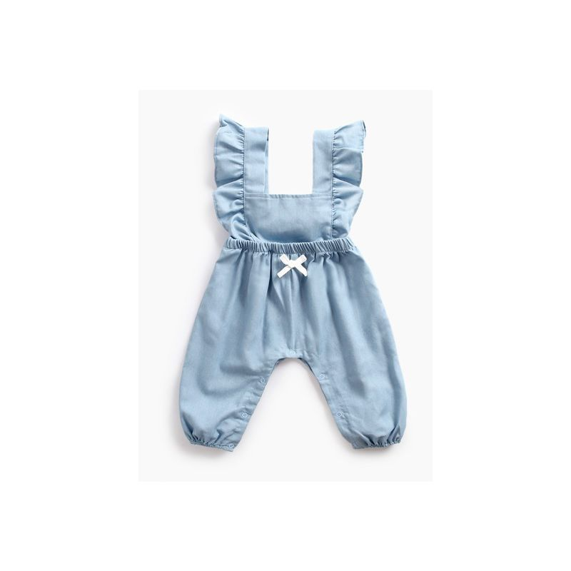 8d7208885338 Blue Demin Ruffled Spanish Baby Romper Sleeveless Summer Baby Onesie  Wholesale