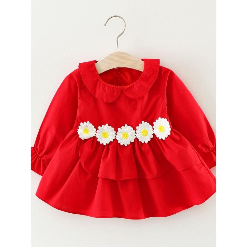 Peter Pan Collar Chrysanthemum Trimmed Baby Toddler Dress Ruffled Cuff Baby Girl Party Dress