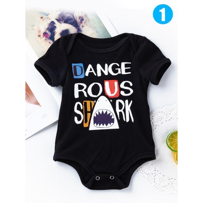 Halloween Letters Pumpkin Skull Cartoon Print Baby Romper Bodysuit Onesies Black