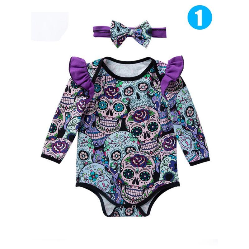 Halloween 2-piece Skulls Colorful Floral Print Baby Headband Onesies Romper Bodysuit Set