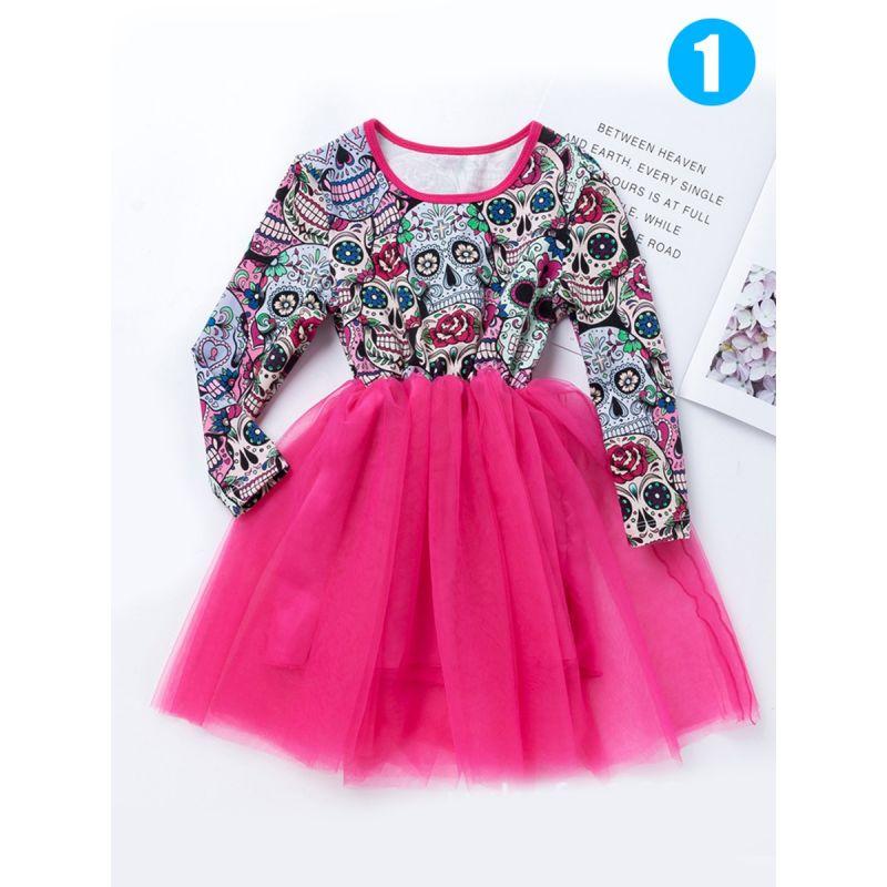 Halloween Skulls Colorful Floral Print Toddler Girls Splicing Mesh Princess Dress