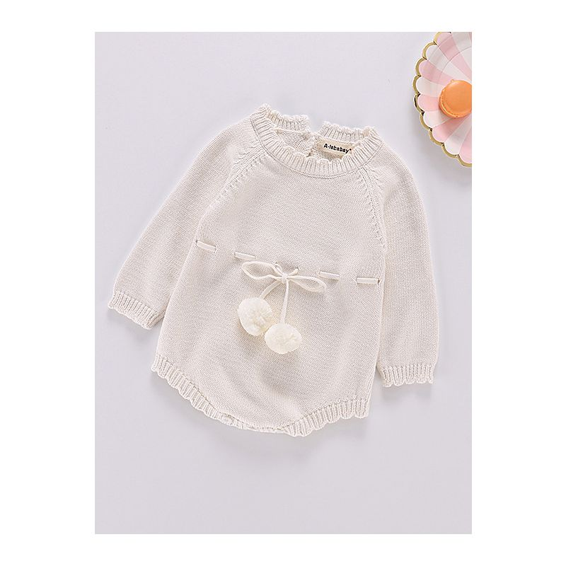 85602042cf83 Kiskissing Autumn Spanish Style Cotton white Baby Romper Knitted Infant  Girl Bodysuit with Ball Trimmed Long