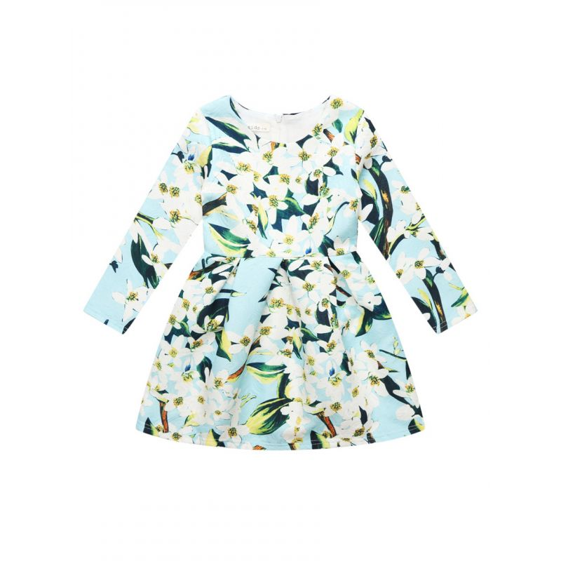 Lily Flower Print Big Girl One-Piece Dress with Back Zipper for Spring Autumn