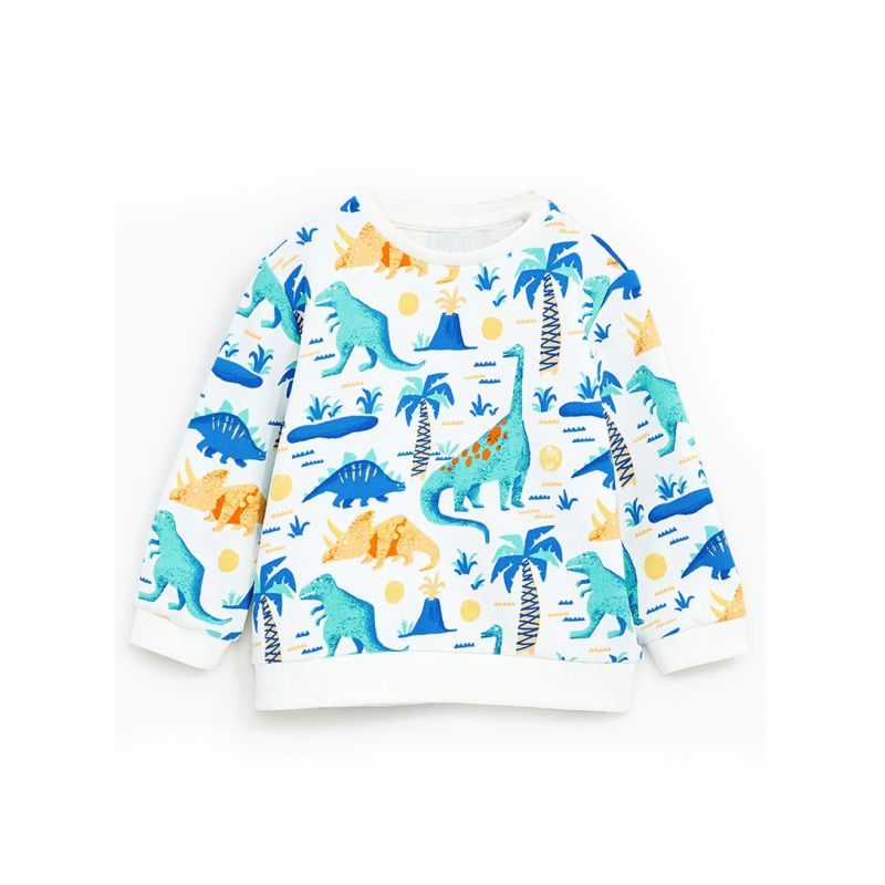 6PCS/PACK Selva Style Cartoon Dinosaur Coconut Tree Print Cotton Sweatshirt Toddler Big Boys Pullover T-shirt Top Long Sleeve