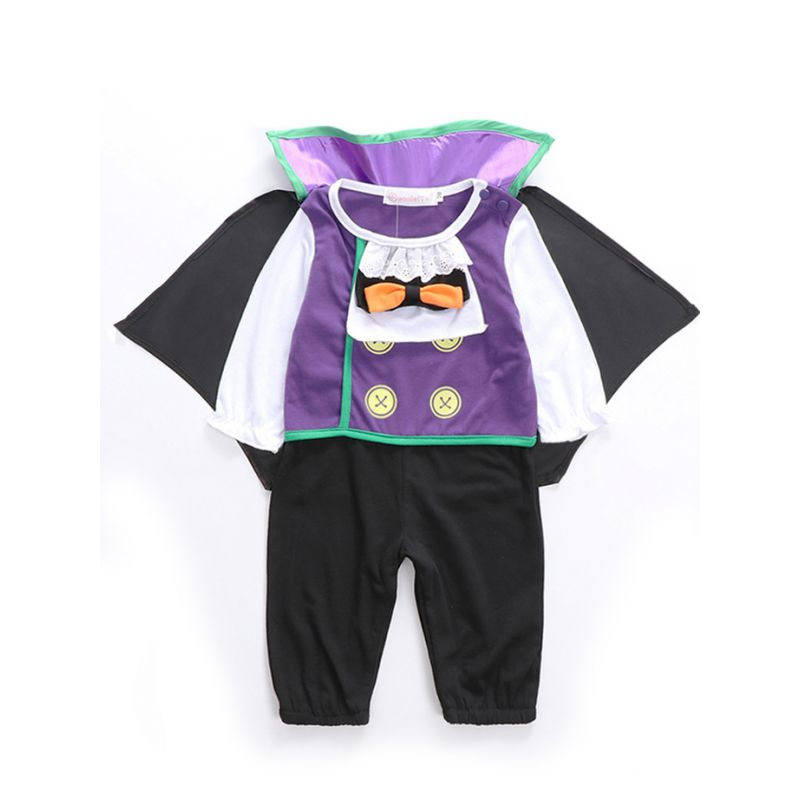 2PCS Fashion Halloween Baby Bodysuit Set Bow Color Block Bodysuit Romper with Flutter Cloak Baby Halloween Party Costume Outfit
