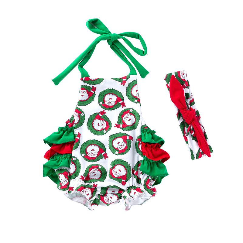 Santa Clause Print Backless Halter Baby Lace-up Romper Sleeveless with Red Bow Headband Christmas Infant Outfit