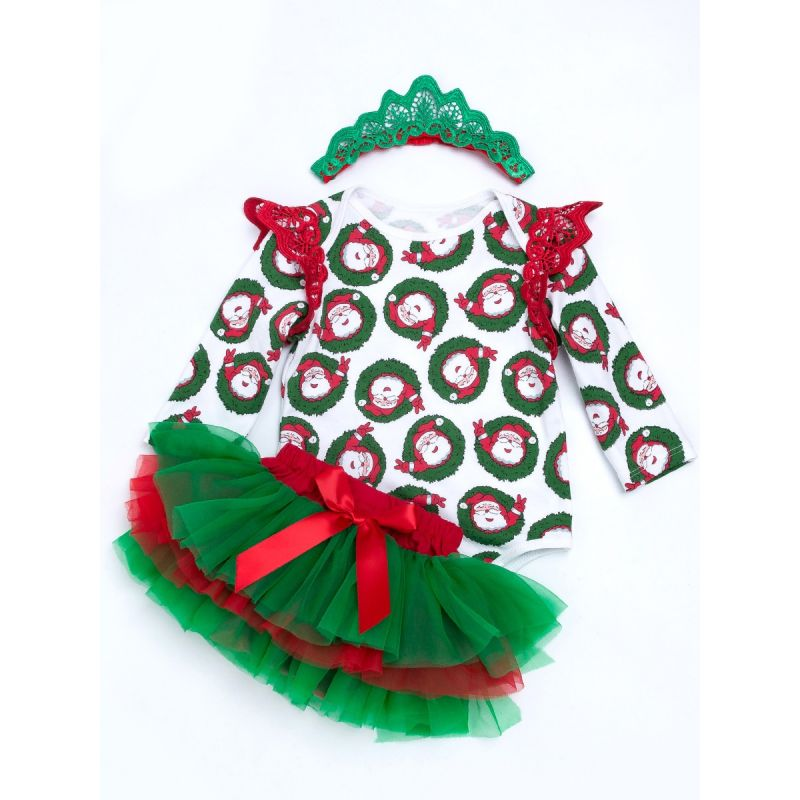 3PCS Christmas Newborn Baby Girl Clothes Outfit Set Pierced Flutter Trimmed Sleeve Santa Clause Print Romper Bodysuit+ Bowknot Tutu Skirt+ Red Green Pierced Headband