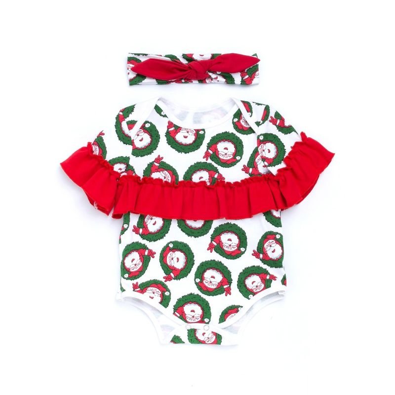 Red Ruffled Trimmed Santa Clause/Reindeer Print Christmas Baby Romper with Red Bowknot Headband New Born Baby Outfits