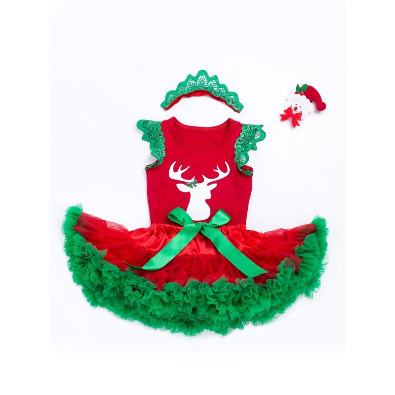 3PCS  Baby Girl Christmas Outfit Set Deer Print Flutter Sleeve T-shirt Top and Ruffled Bow Tulle Skirt+ Red Green Pierced Headband
