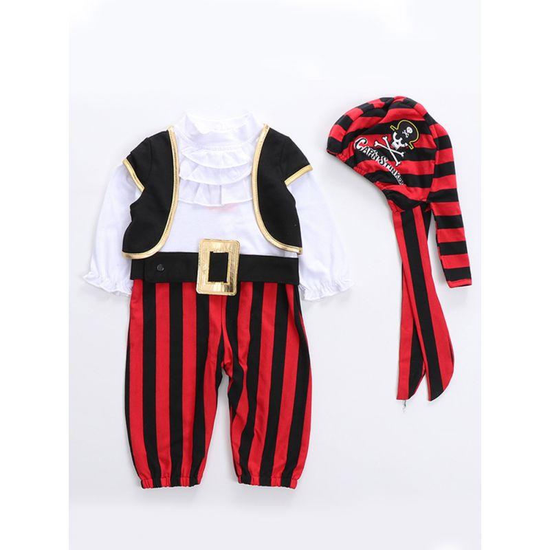 4PCS Halloween Baby Corsair Pirate Costume Set Cap'N Stinker Pattern Striped Hat+Color Block Long Sleeve Bodysuit+Black Vest+Belt