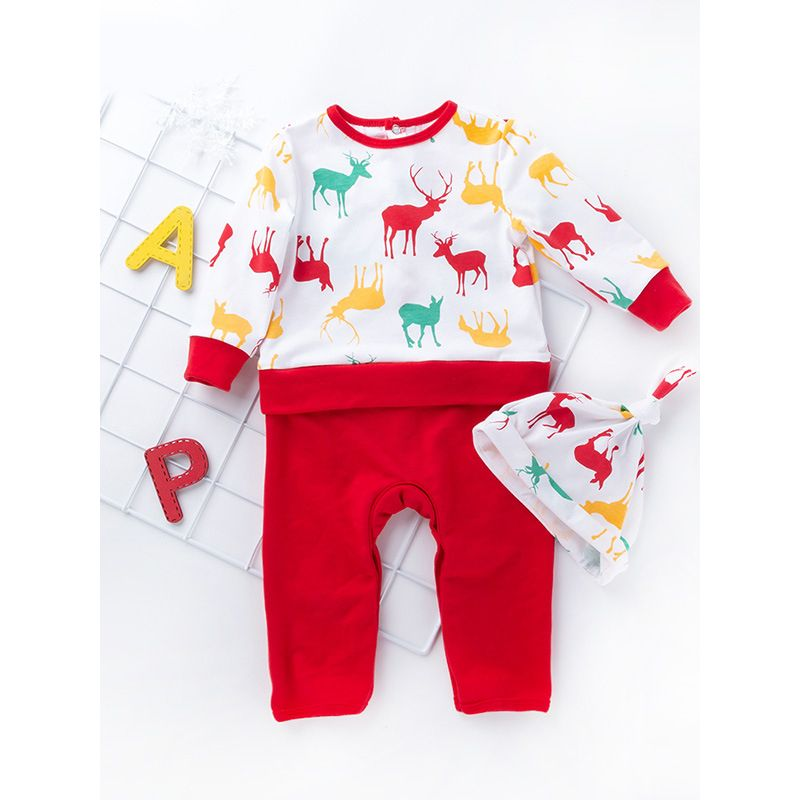 e56385a9da1cf Reindeer Christmas Tree Print Infant Baby Romper Bodysuit with Hat Toddler  Christmas Clothes Outfit Wholesale
