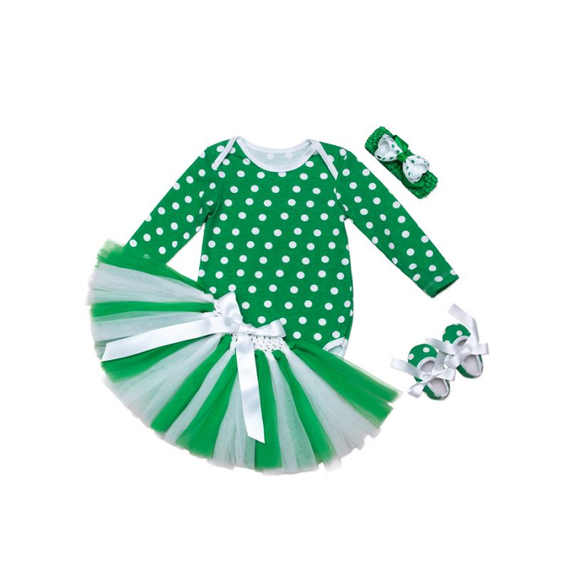 4PCS Saint Patrick's Day Irish Princess Baby Tutu Dress Set Bowknot Headband+White Polka Dots T-shirt Top+Ribbon Tulle Skirt+Shoes