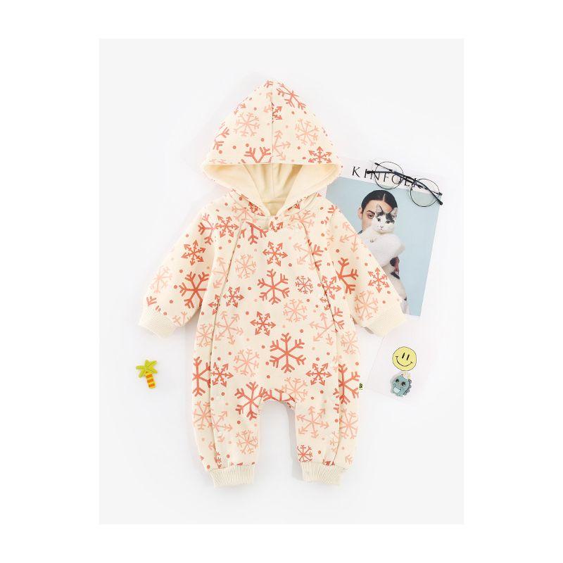 Winter Snowflake/Christmas Tree Print Hooded Christmas Infant Bodysuit Romper Baby Toddler Girl Boy Thick Xmas Apparel