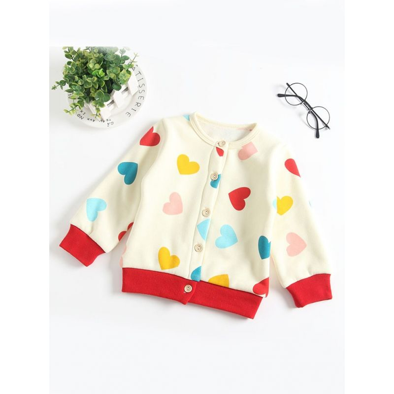 Kiskissing Winter Infant Love Heart Print Fleece-lined Cardigan Baby Girl Shirt Top the obverse side kids wholesale clothing
