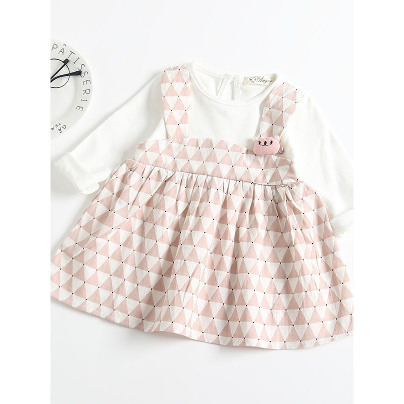 Kiskissing pink Spanish Style Patchwork Triangle Print Baby Dress Long Sleeve for Autumn Spring trendy kids wholesale clothing the obverse side