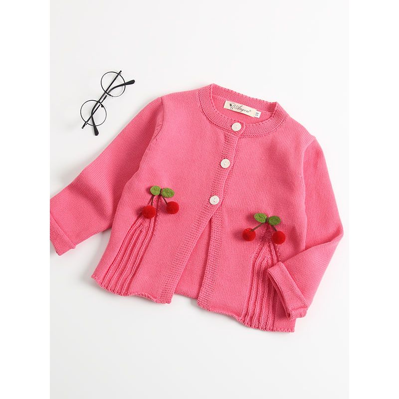 d5be7d731 Wholesale Cute 3D Cherry Trimmed Baby Girl Knitted