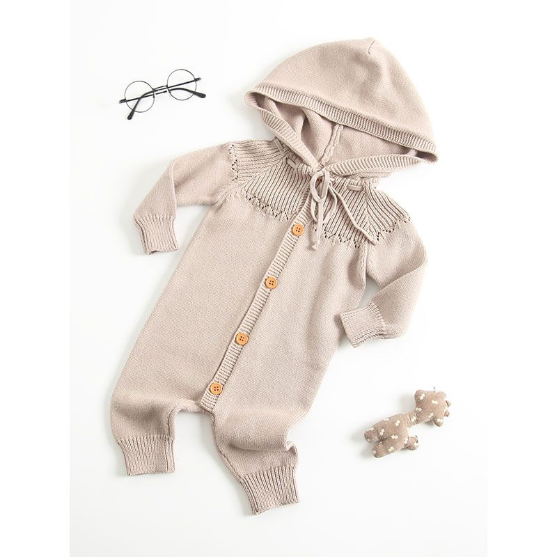 276d10e9ffed Kiskissing Hooded Crochet Baby Bodysuit Cotton Knitted Infant Romper Onesie  the obverse side spanish baby clothes. Tap to expand