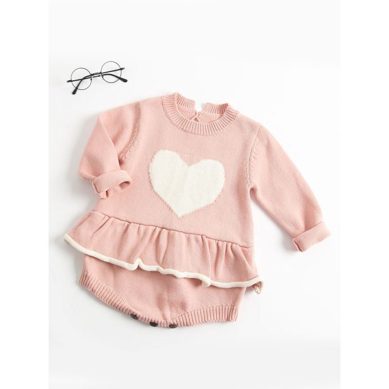 Kiskissing pink Love Heart Crochet Ruffled Baby Girl Romper Cotton Infant Jumpsuit the obverse side traditional spanish baby clothes wholesale